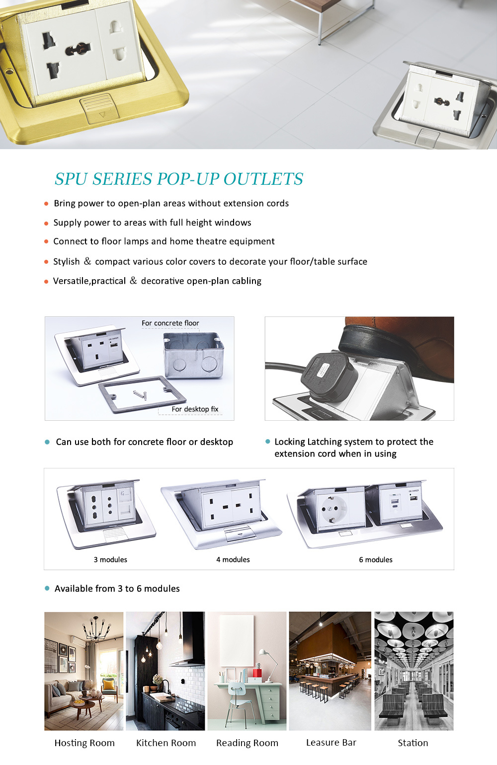 Stainless Steel Cbd Low Voltage Wiring System Electrical Floor Socket Junction Box Optional Base Boxes Brass Alloy Aluminum 4 Modules Type 4543 Available