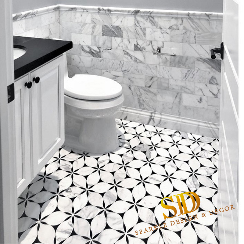 China Marble Mosaic Tile Bathroom, Black And White Bathroom Tile