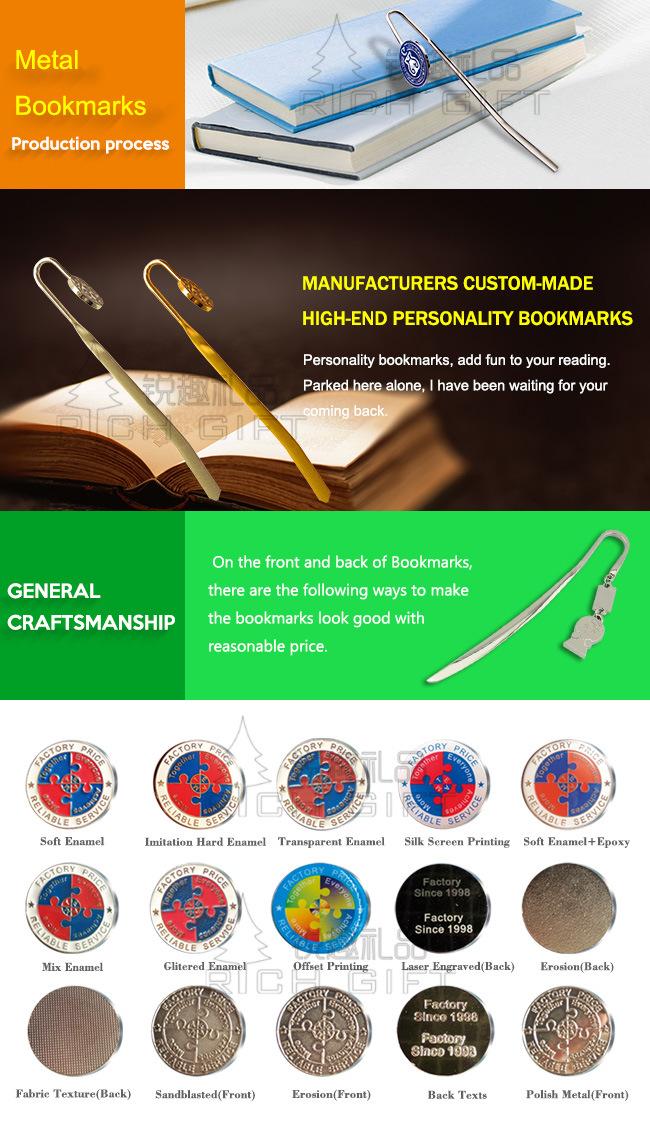 Custom Design Fine Fashion Metal Bookmark for Business People