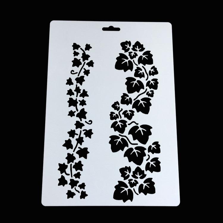 Plastic Pvcstencilmultifloralcornerborderbirdflowerdesign