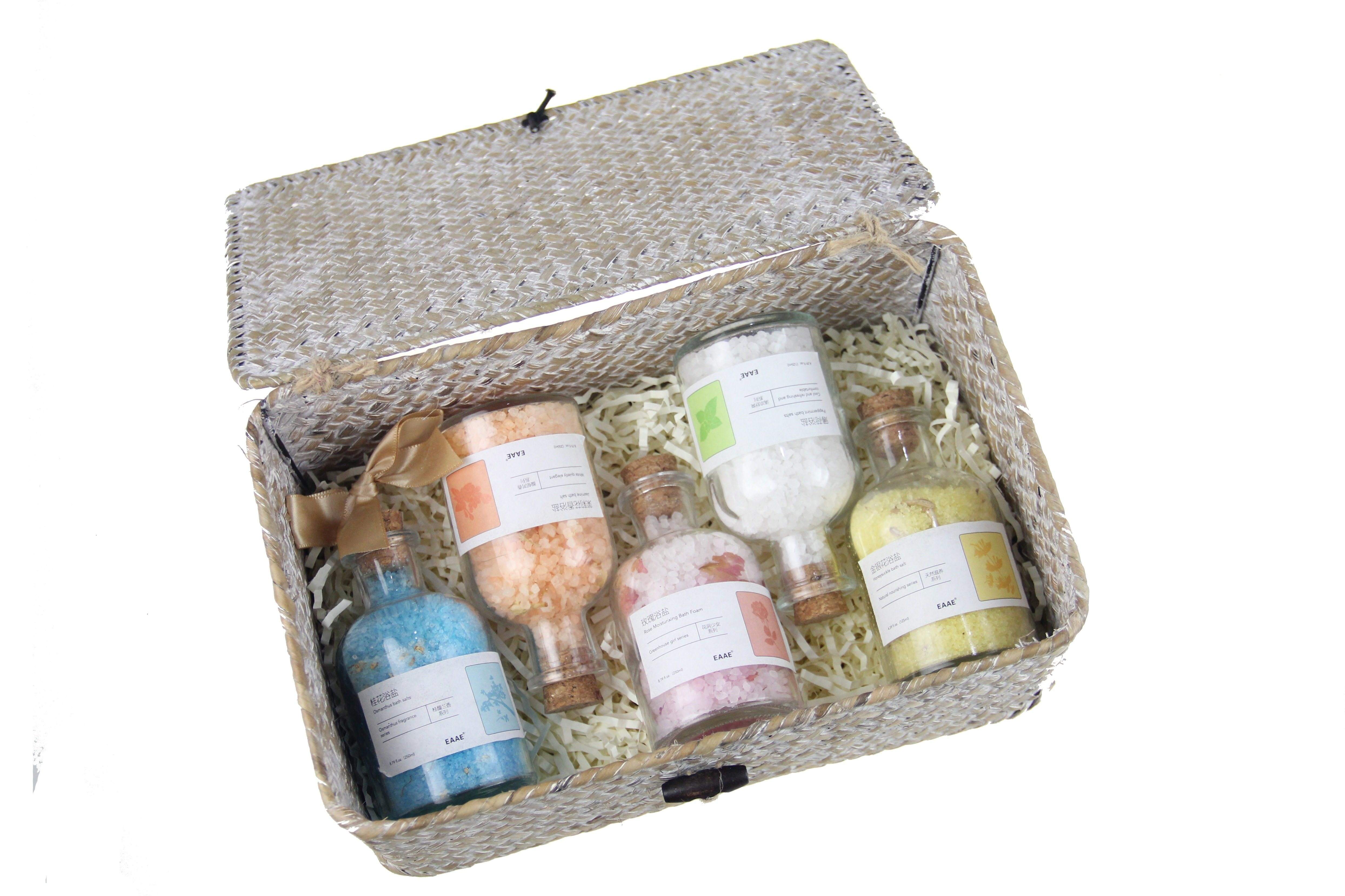 Scented Natural Glass Bottles Packaging Colorful Bath Salt Spa Gift Set China Cosmetic Set And Spa Set Price Made In China Com