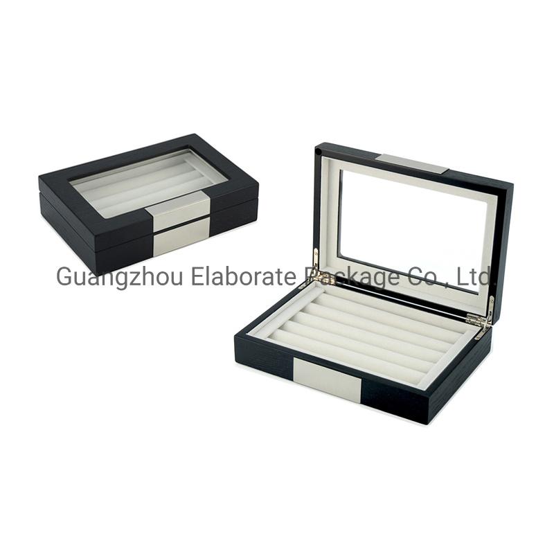 Black and Green Glass Cufflinks with Presentation Box