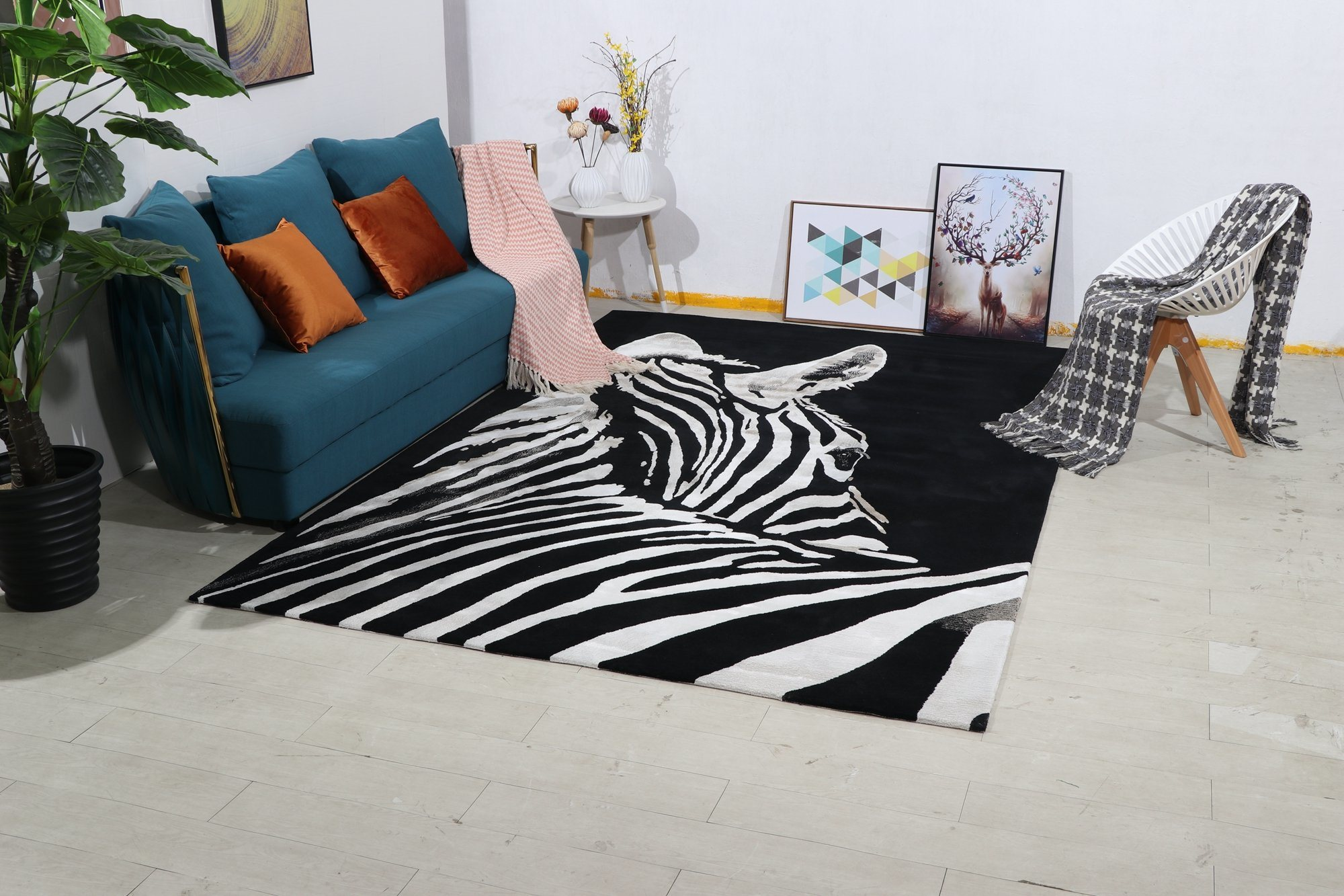 Zebra Carpet In Living Room Handtuft Carpet Wool Carpet Area Rug