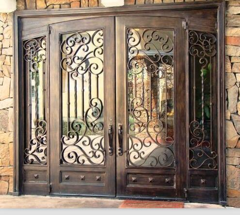 Modern Steel Grill Design Main Entrance Wrought Iron Door China