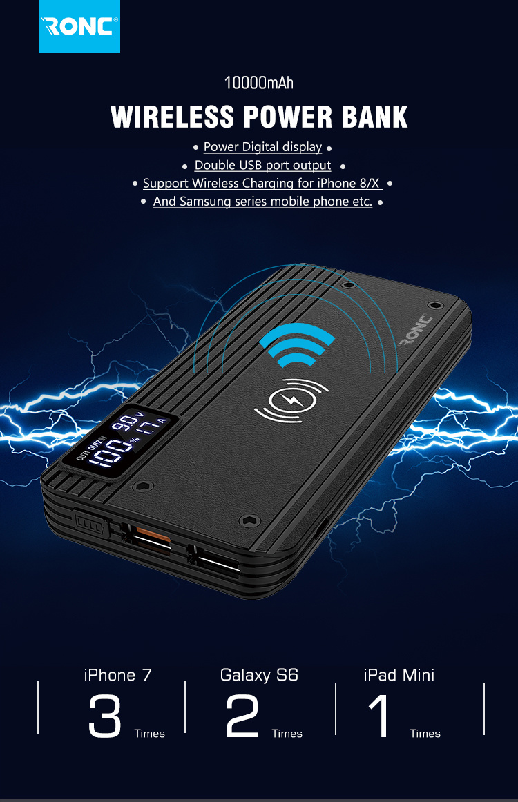 Wireless Charger Mobile Power Bank 10000mah With Qi Wirless Charging