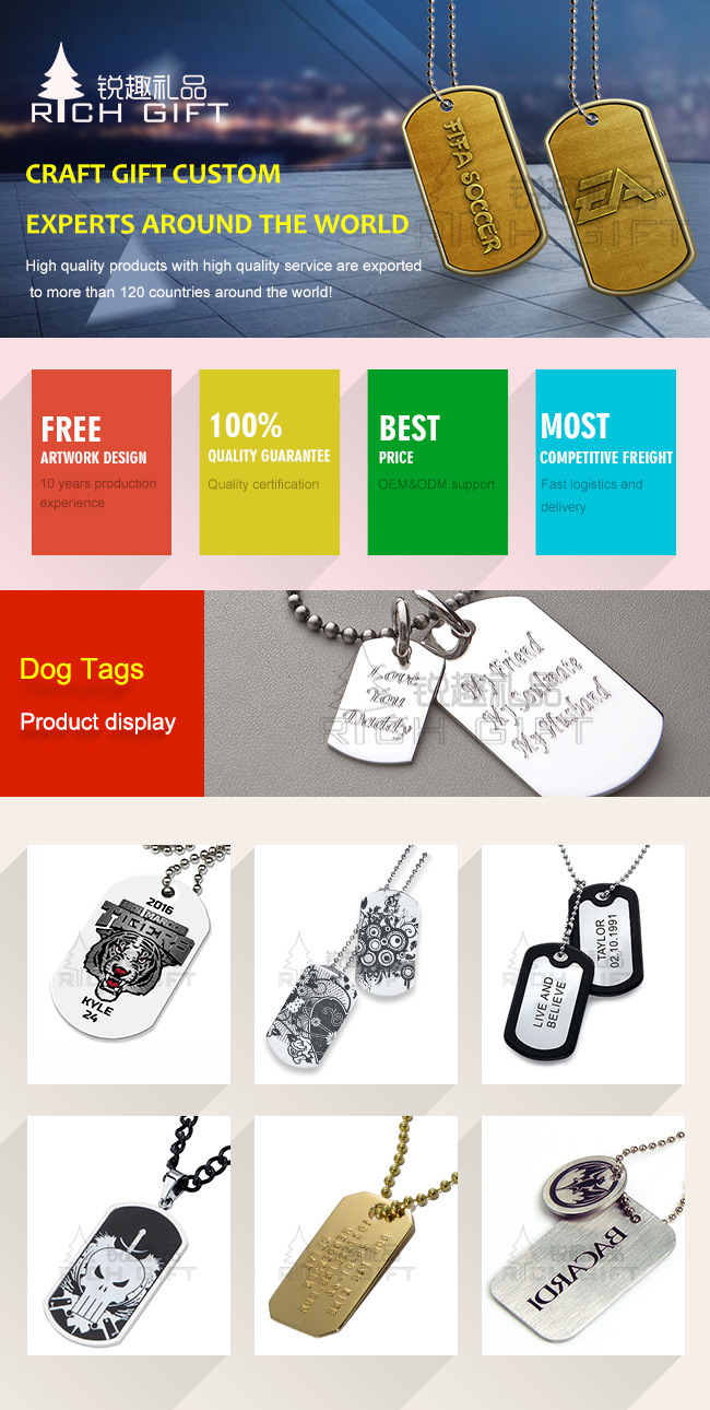 Promotion Wholesale Fashion Custom Stainless Steel Metal Military Name/Pet/ID/Dog Tag with Print Logo and Necklace