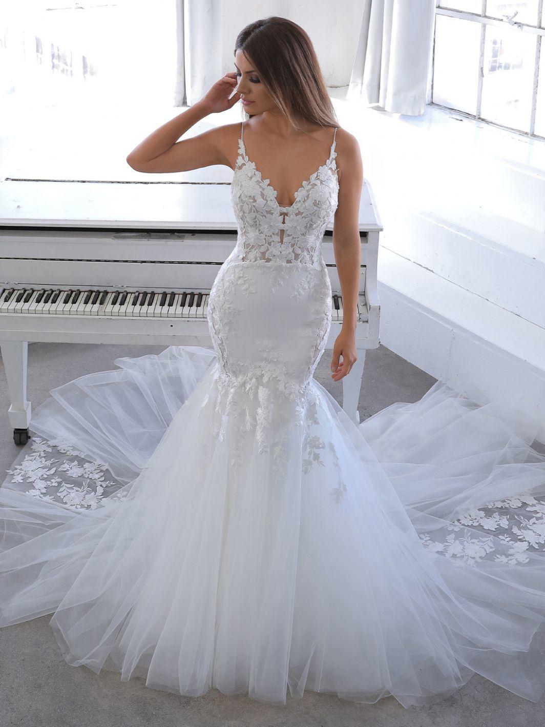 Spaghetti Straps Wedding Gown Lace Mermaid Bridal Dresses M20 ...
