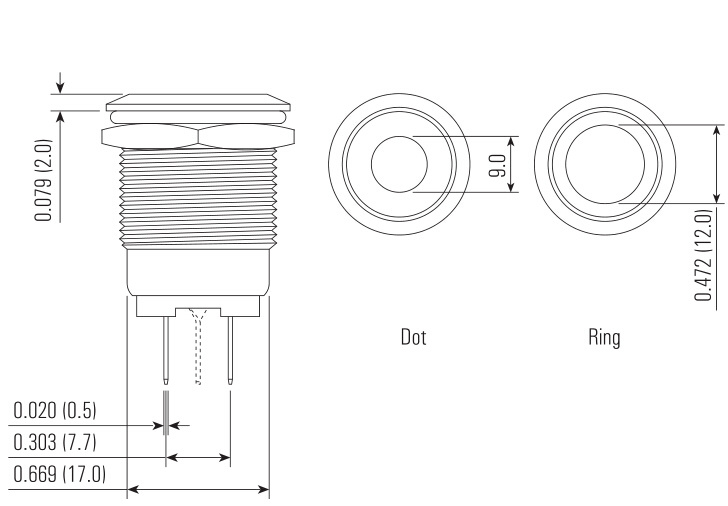 ring van 19mm verlichtte de kortstondige schakelaar van de
