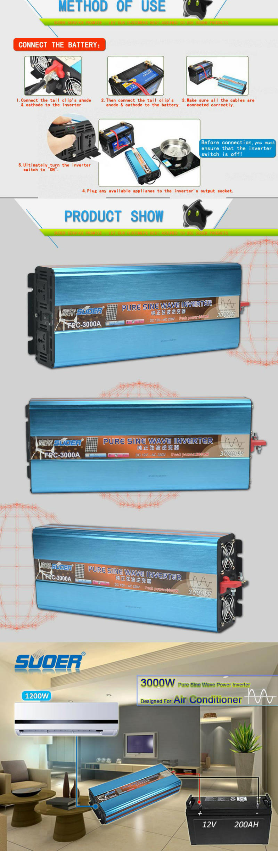 Suoer DC 12V to AC 220V 3000W Pure Sine Wave Inverter (FPC-3000A ...