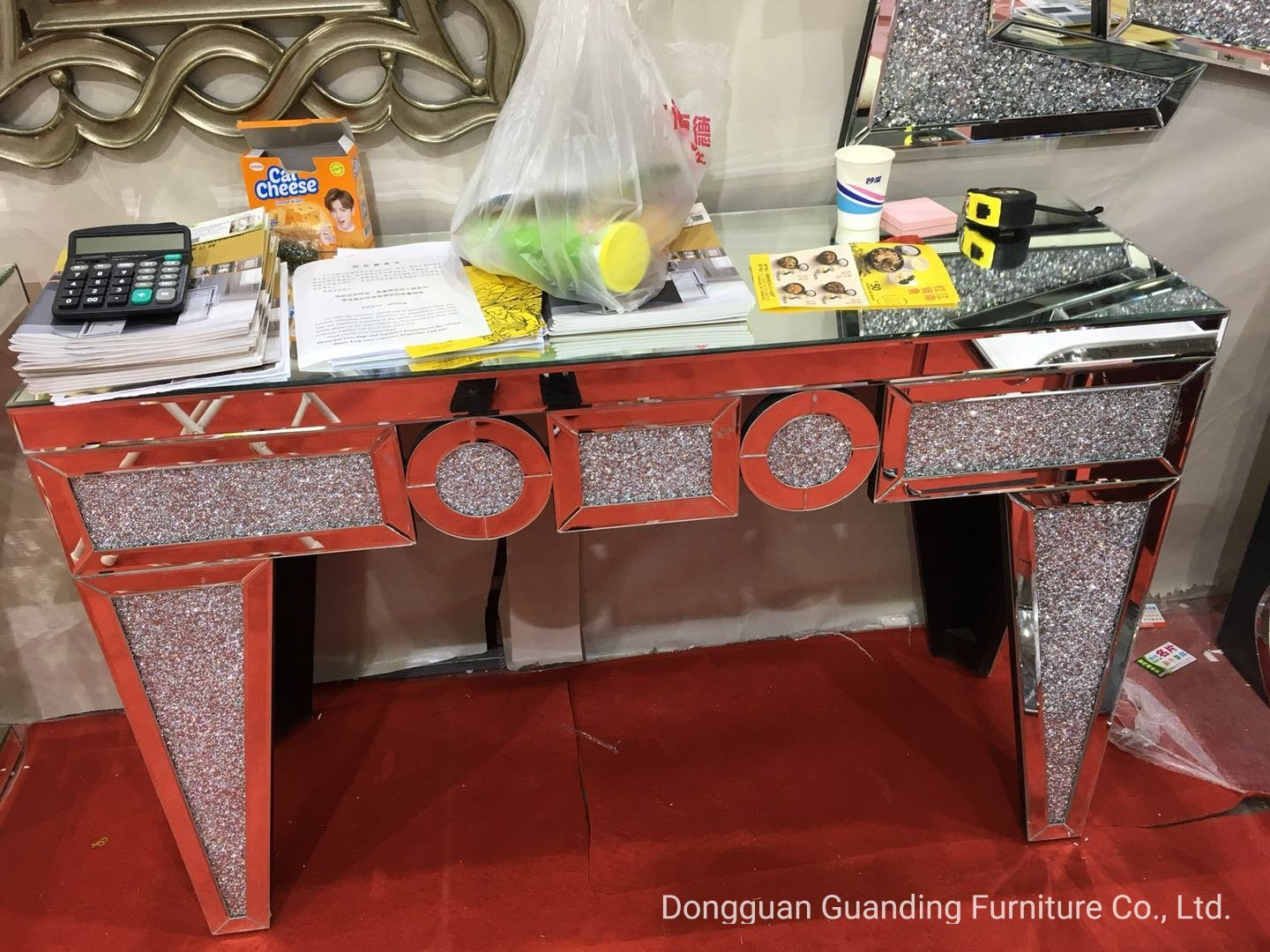 Modern High End Floating Crystal V Shape Mirrored Console Table