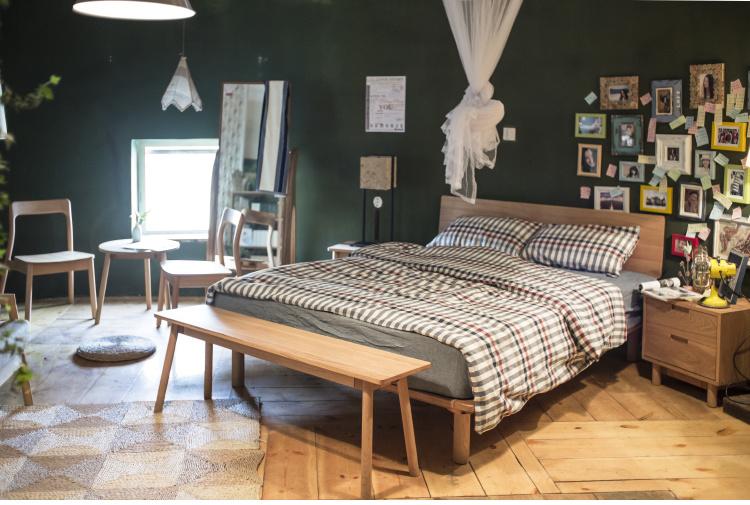 Antique/moderno salón de madera de roble sólido marco de la cama ...