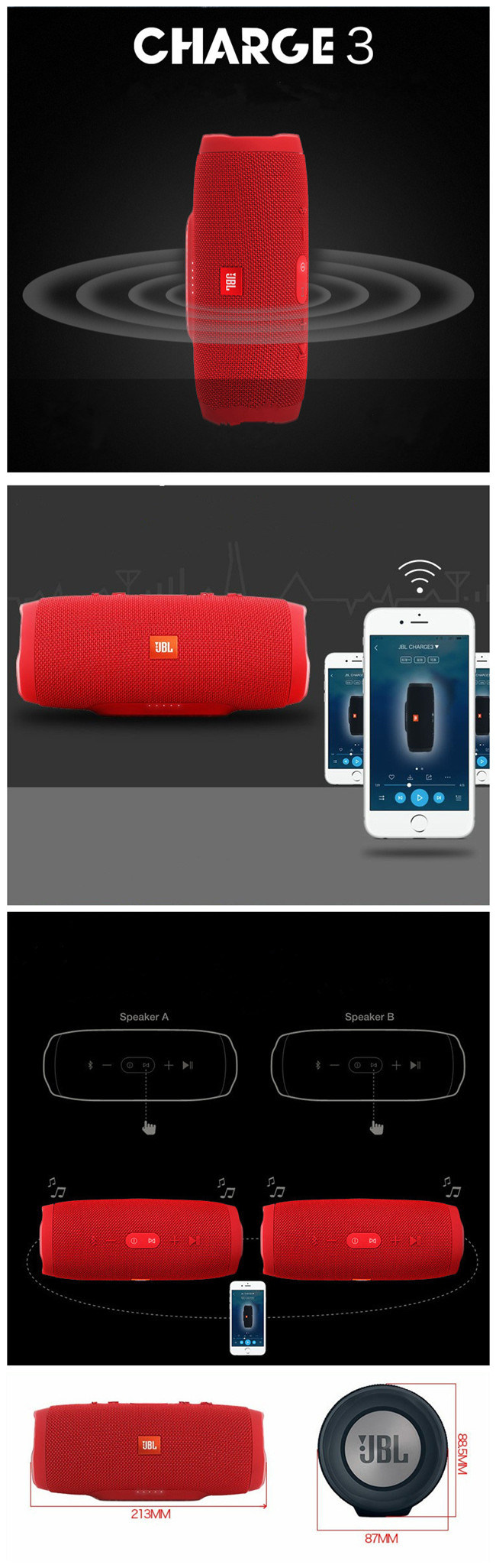 Smart Expo Portable Loud Stereo Mini Usb Bluetooth Wireless Jbl Speaker Charger 1 Bass Radiator Hear The Feel See Dual External Passive Radiators Just How Powerful Your Are