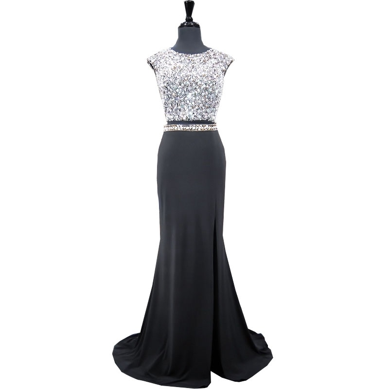 Crystal Black Party Prom Dress Real Stock Mermaid Evening Gown ...