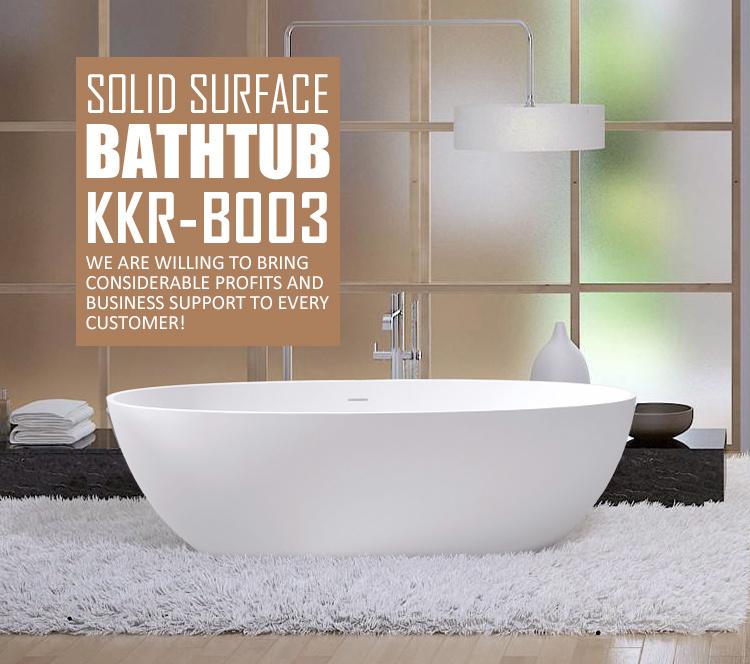 Kingkonree White Black Stone Resin Acrylic Freestanding Bathtub ...