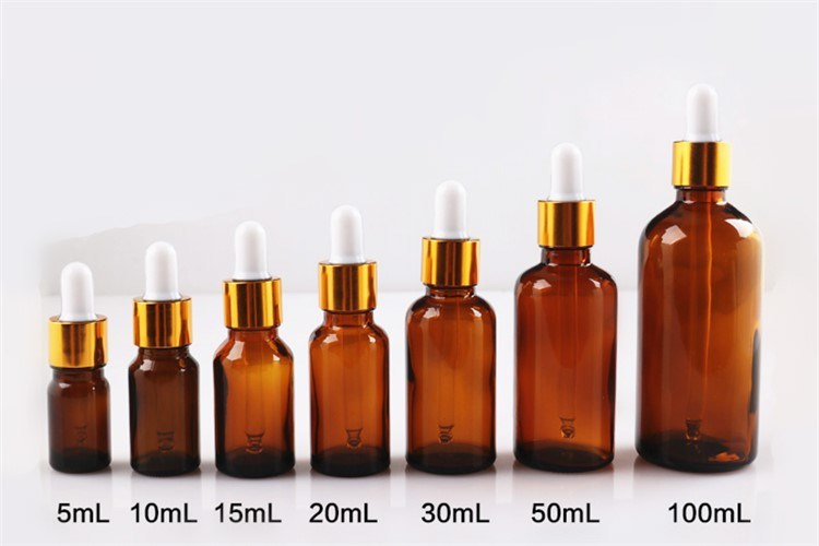 5ml-100ml Refillable Empty Glass Essential Oil Amber Bottle for Cosmetic Packaging