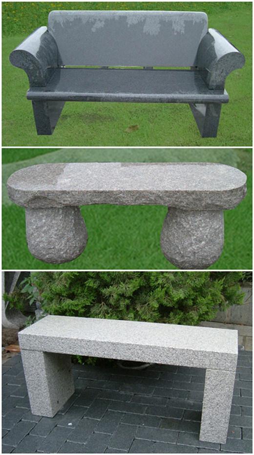 Banco de piedra de granito gris natural para el exterior for Bancos de granito para jardin