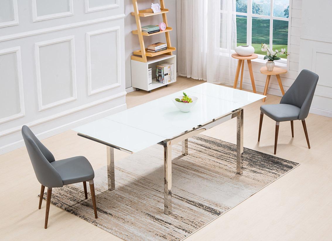 Dining Room Furniture Set White Glass, Dining Room Set Metal Legs
