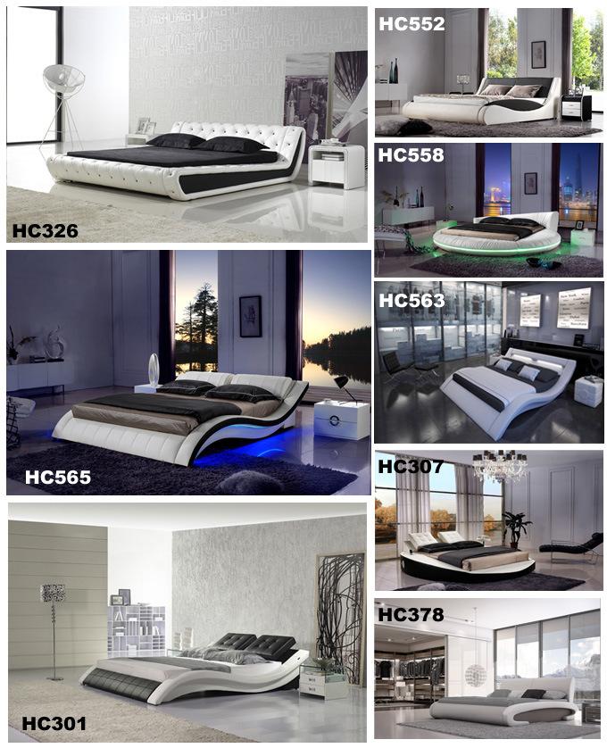 Diseño Europeo de la moda de cuero auténtico blanco cama dormitorio ...