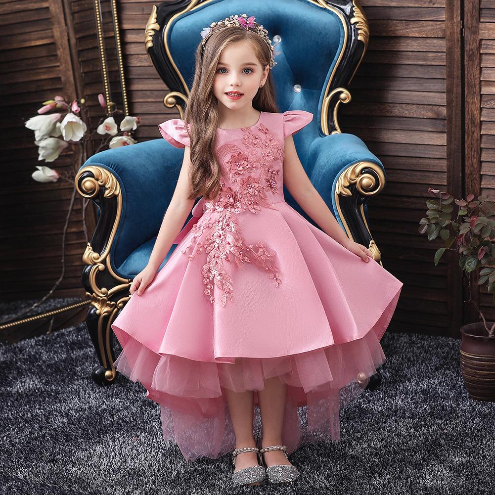 Pink Satin Junior Bridesmaid Dresses Hi Low Flower Girl Dress ...