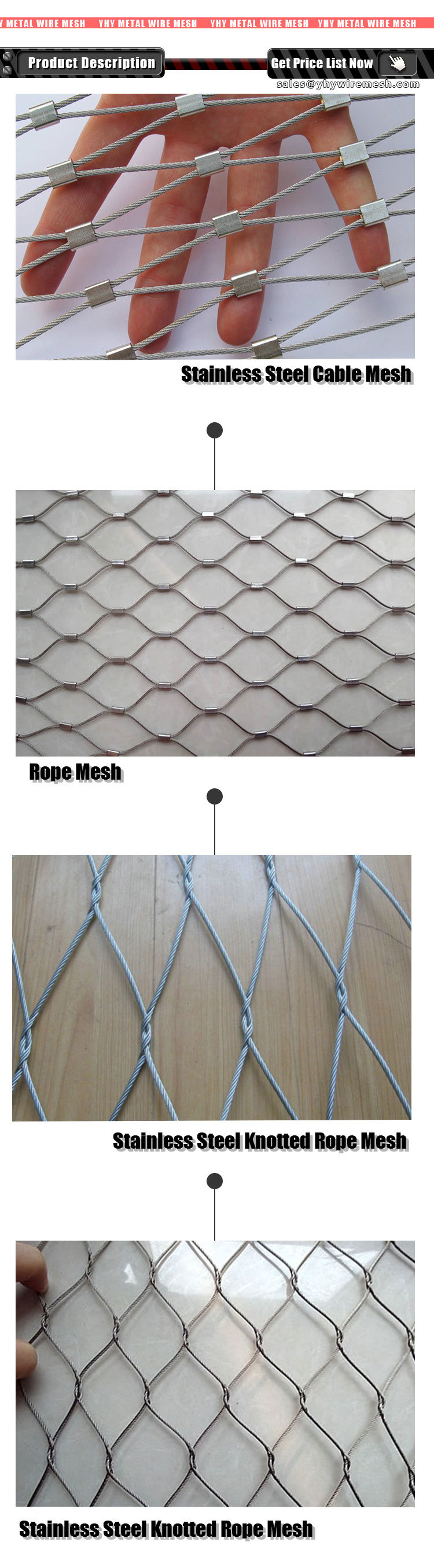 316L Stainless Steel Rope Safety Net for Staircase Balcony ...