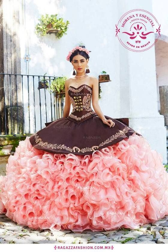 01dc288c49e45 [Hot Item] Sweetheart Ball Gowns Ragazza Organza Ruffles Coffee Pink  Quinceanera Dresses Z3016