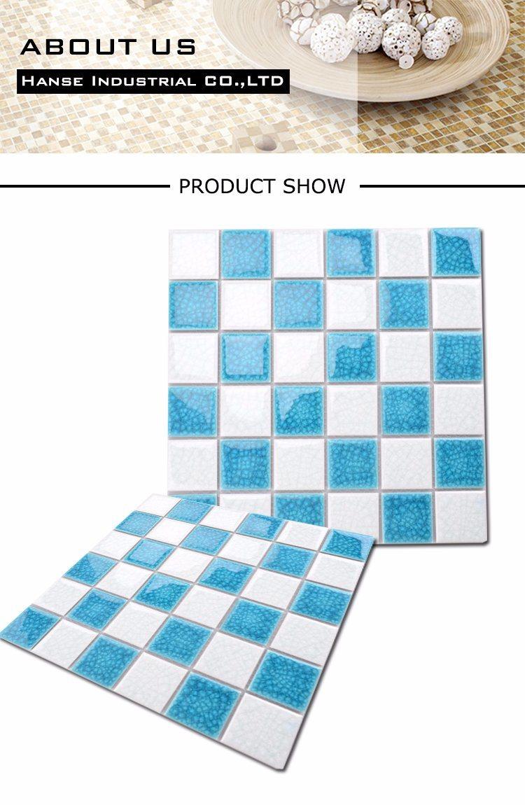 White Mixed Crack Blue Ceramic Mosaic for Swimming Pool Tile - China ...