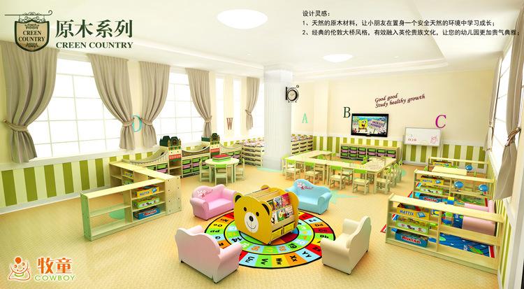 Los niños muebles de madera, sillas de la tabla en el aula ...