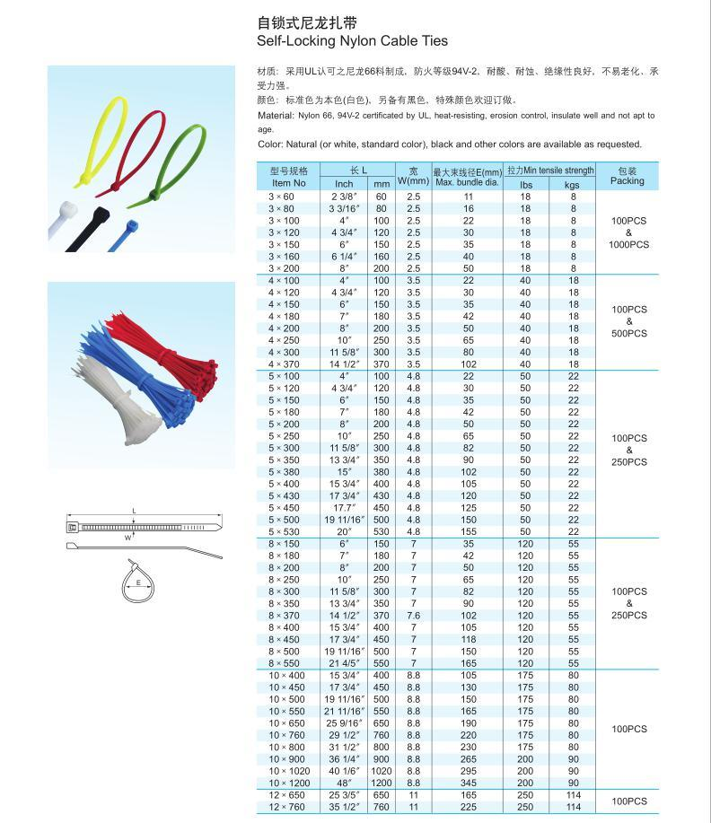 Self-Locking Cable Tie (NYLON) with Ce RoHS