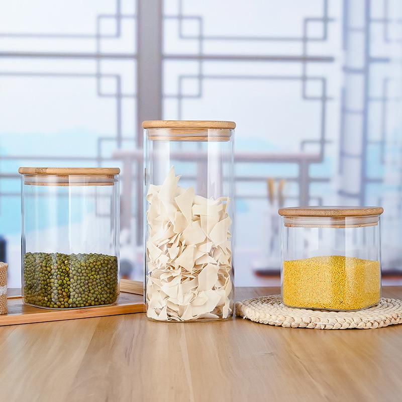 Bamboo Lids For Flour Sugar Tea Coffee, Flour Storage Jars Glass