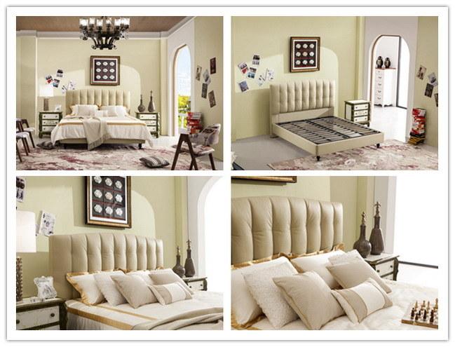 Casa de Foshan Bastidor de madera muebles de cuero suave cama King ...