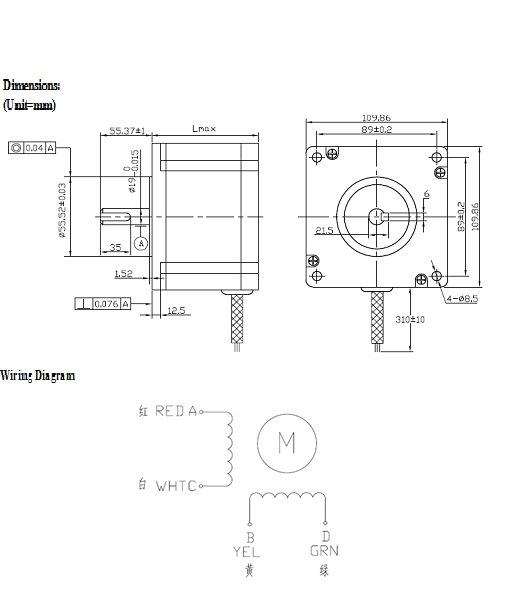 4wire hybrid stepper motors nema42 1 8 degree 2 ub2e8 uacc4 110hs150