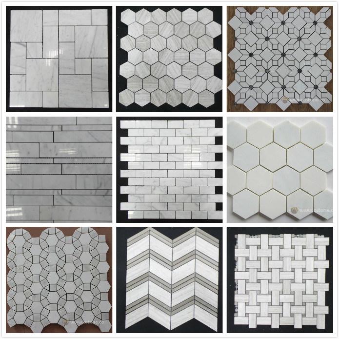 Mattonelle di mosaico herringbone di marmo bianche grige naturali per la pavimentazione stanza - Mattonelle mosaico per bagno ...