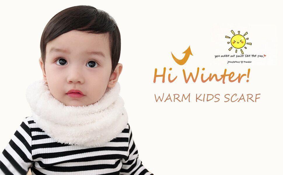 US Kids Girls Boys Winter Scarf Warm Toddler Scarf Neck Loop Warmer Fleece Lined