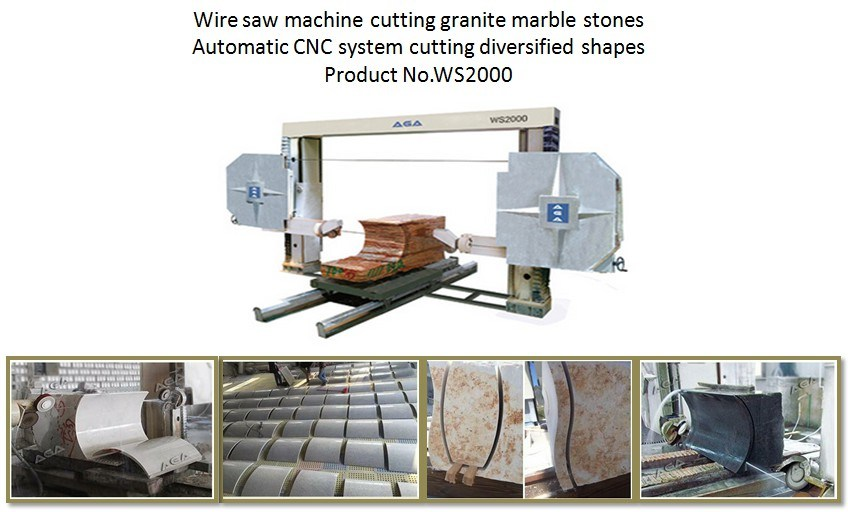 CNC Wire Saw Machine Cutting Marble Granite Stones with Diversified ...