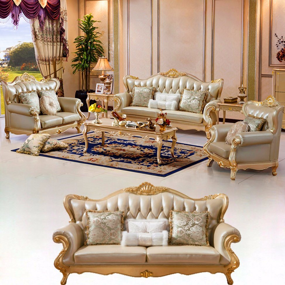 leather and wood sofa. Leather Sofa Set With Wood Frame Living Room Genuine Snake Shape Steel Spring Cushion 45-Density Foam And