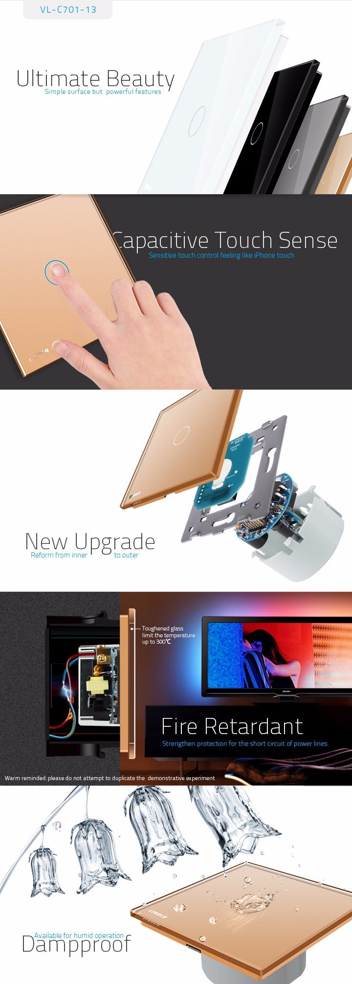 Livolo Eu Switch Smart Home Light Touch Wall Vl C701 13 Electronic Design Circuits Note The Is Not Suitable For Inductive Ballast Fluorescent