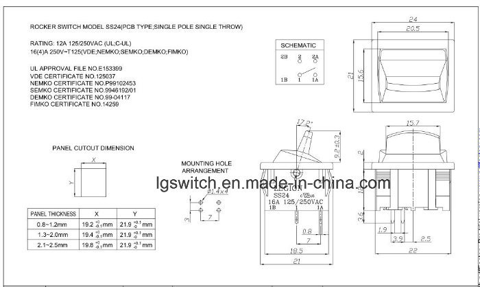 16A250VAC Ss24 Rocker Switches