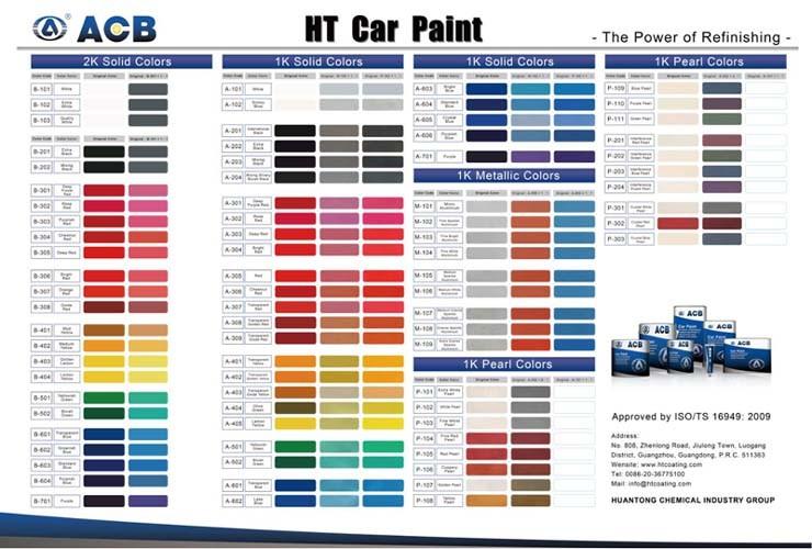 Auto Refinishing 1k Basecoat Color Car Paint