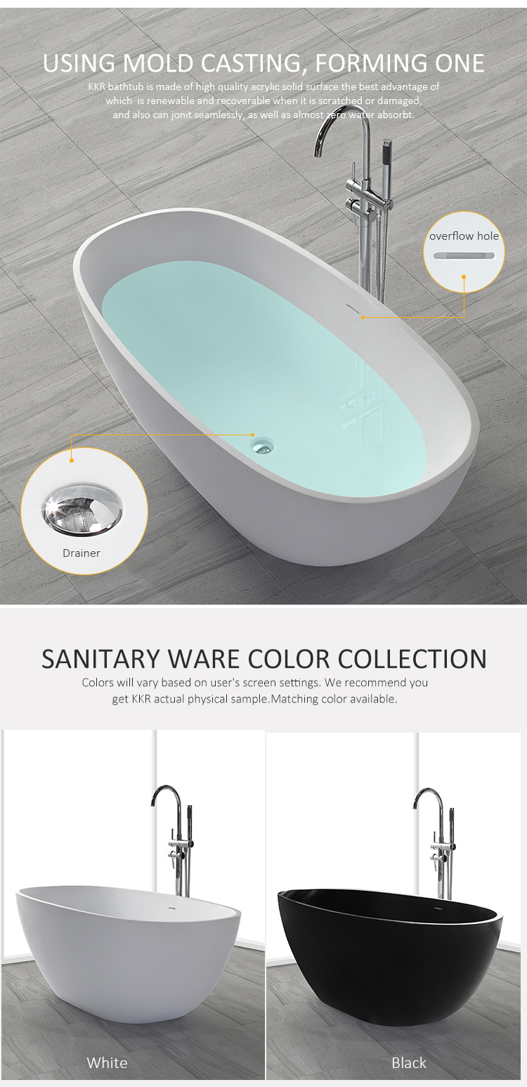 Bathroom Accessories Artificial Stone Freestanding Bath Tub - China ...