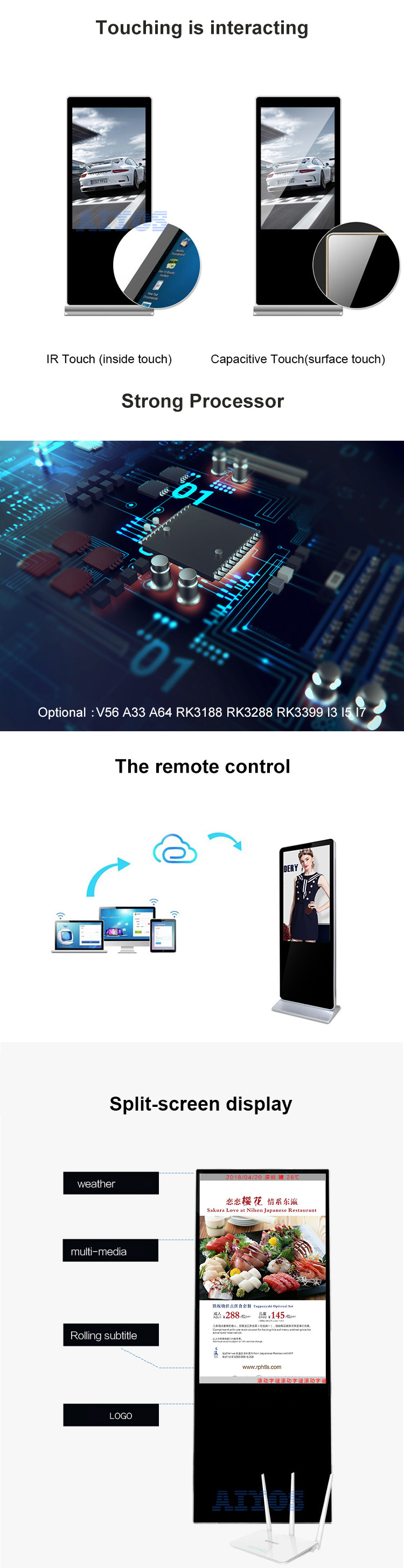 [17 Years Original Factory] 43 49 55 Inch Freestanding LCD Android Touch Screen Digital Signage Kiosk