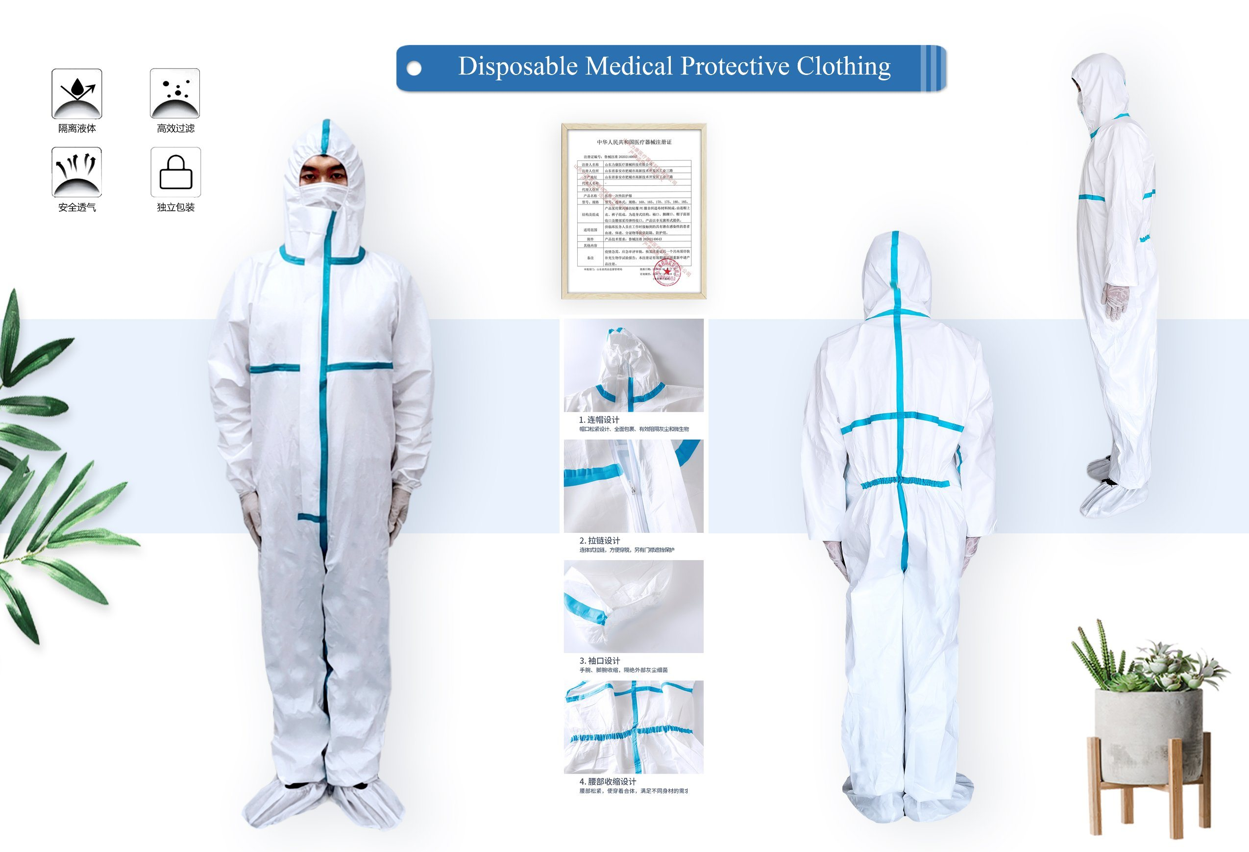 Details about  /1pc Isolated Clothing One-piec Suit  Clothing for Woman  Doctor