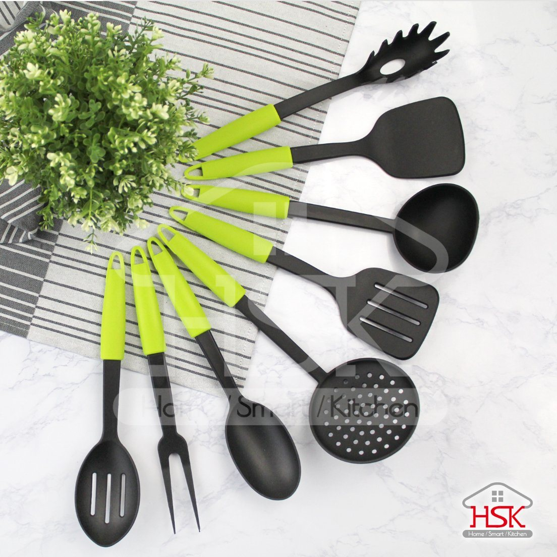 Nylon Kitchen Utensil Set Green Handle Kitchenware Gift Set Zm Sset002 China Cookware And Kitchen Tool Price Made In China Com