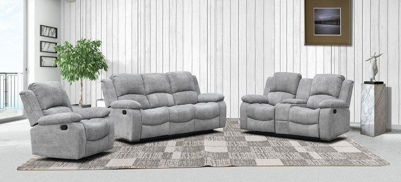 Fabric Reclining Sofa Set For Living, Fabric Living Room Sets With Recliner