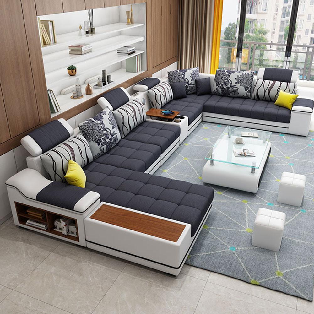[Hot Item] Luxury Dubai Home Living Room Furniture Pure Leather Slide Sofa