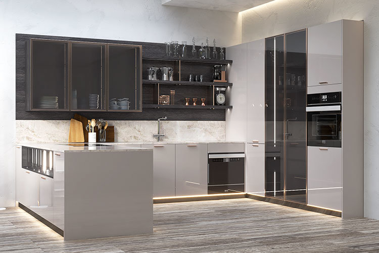 Grey Modern Design Lacquer Kitchen Cabinet With Glass Door China Modern Kitchen Design Modern Kitchen Made In China Com