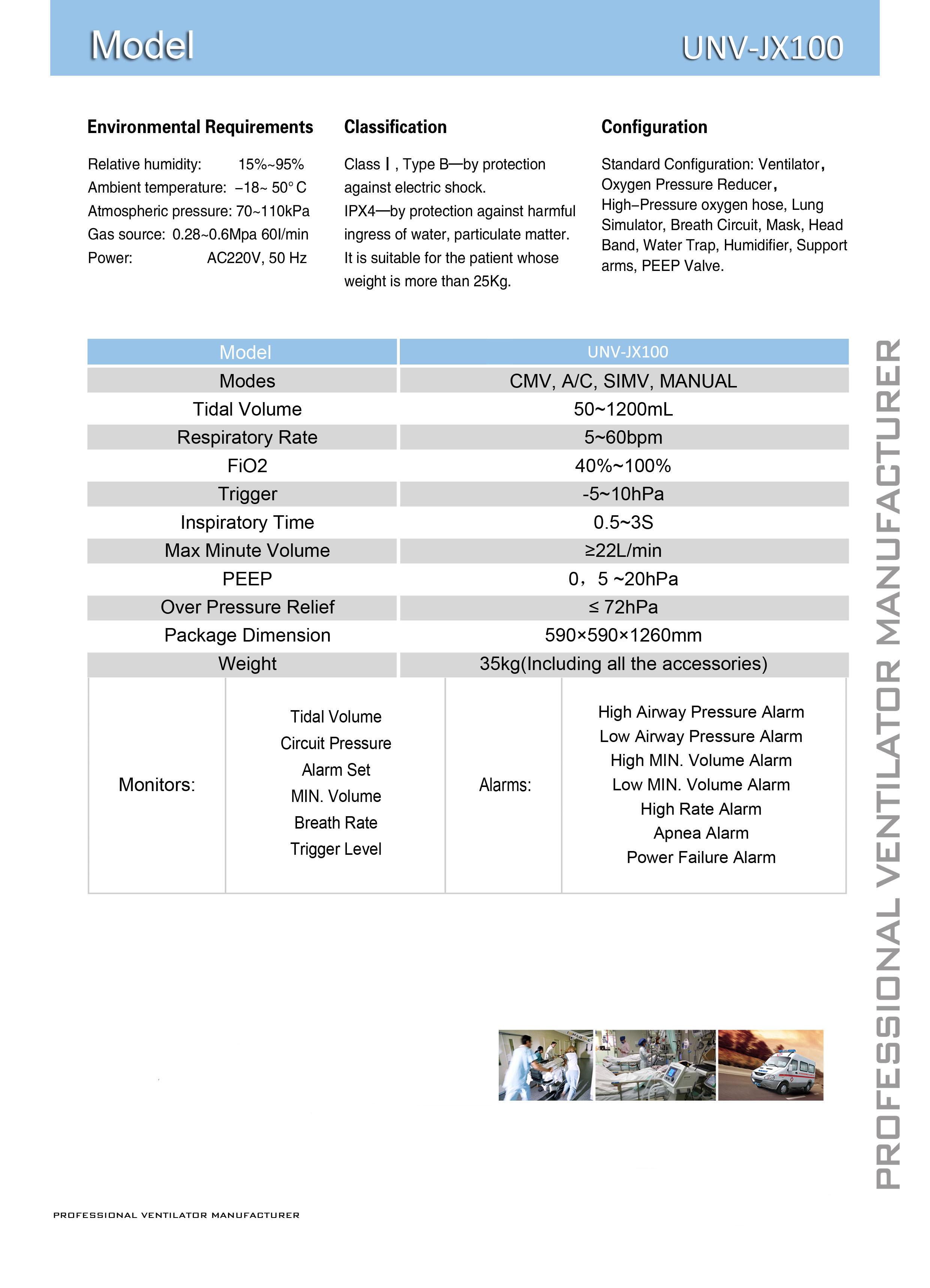 High Level ICU Ventilator (UNV-JX100A) for Ambulance Use with Ce