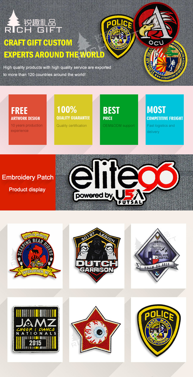 Custom Military 3D Logo Garment Label Fashion Woven Embroidery Patch Badge for Clothing
