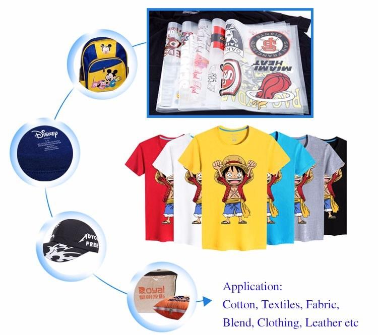 2018 Factory Custom Offset Plastisol Heat Transfer Printing Cmyk Sticker for T-Shirt