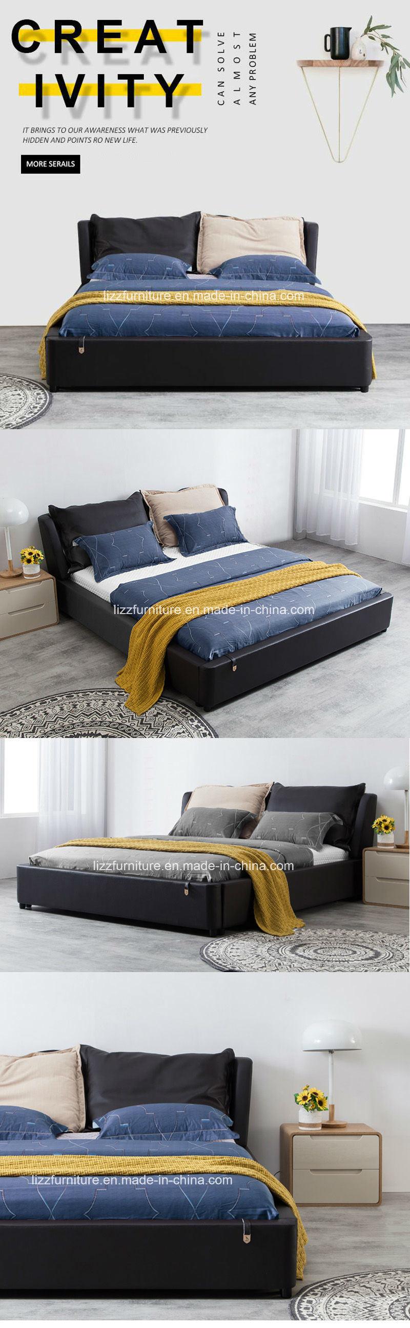 Moderna europea levantó Gas almacenamiento dormitorio cama de cuero ...
