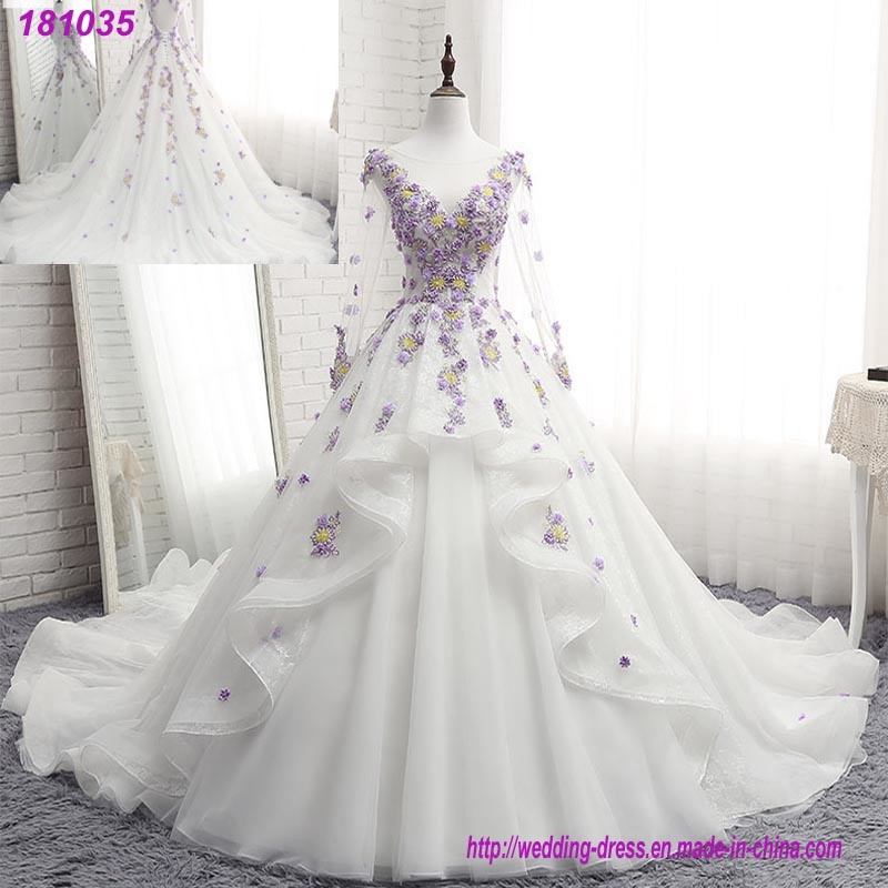 cfeb5c882 Purple Lace Floral Bridal Gowns Flowers Puffy Wedding Dress 2018 ...